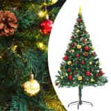 vidaXL mākslīgā Ziemassvētku egle, rotājumi, LED lampiņas, 150cm, zaļa