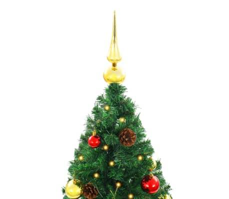 vidaXL Künstlicher Weihnachtsbaum Geschmückt Kugeln LEDs 150 cm Grün[4/8]