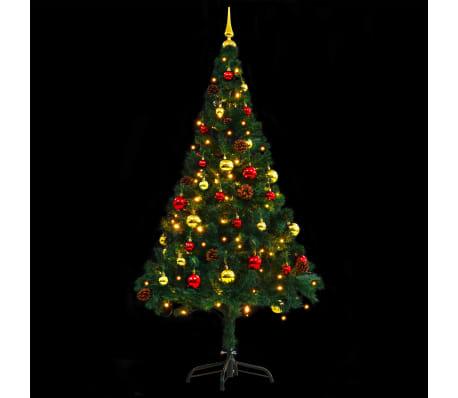 vidaXL Künstlicher Weihnachtsbaum Geschmückt Kugeln LEDs 150 cm Grün[8/8]