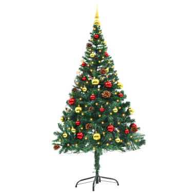 vidaXL Künstlicher Weihnachtsbaum Geschmückt Kugeln LEDs 150 cm Grün[2/8]