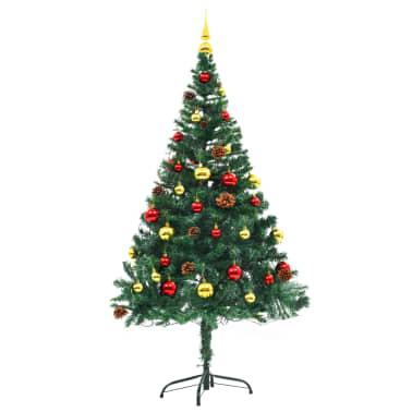 vidaXL Künstlicher Weihnachtsbaum mit Kugeln und LEDs 150 cm Grün[3/8]