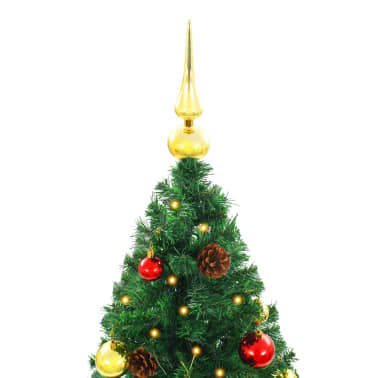 vidaXL Künstlicher Weihnachtsbaum mit Kugeln und LEDs 150 cm Grün[4/8]
