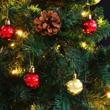 vidaXL Künstlicher Weihnachtsbaum mit Kugeln und LEDs 150 cm Grün[7/8]