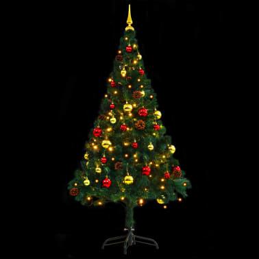 vidaXL Künstlicher Weihnachtsbaum mit Kugeln und LEDs 150 cm Grün[8/8]