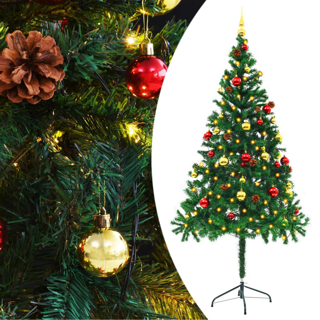 vidaXL Umělý vánoční stromek ozdobený s baňkami a LED 180 cm zelený