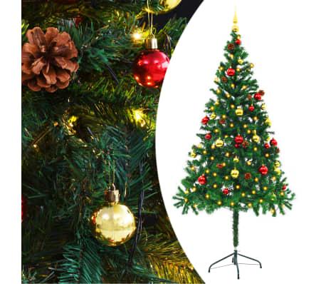 vidaXL Künstlicher Weihnachtsbaum Geschmückt Kugeln LEDs 180 cm Grün