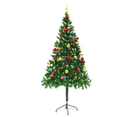 Künstlicher Geschmückter Weihnachtsbaum.Vidaxl Künstlicher Weihnachtsbaum Geschmückt Kugeln Leds 180 Cm Grün