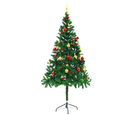 vidaXL Plastgran med julkulor och LED 180 cm grön[3/8]