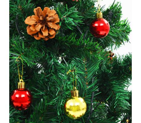 vidaXL Plastgran med julkulor och LED 180 cm grön[5/8]