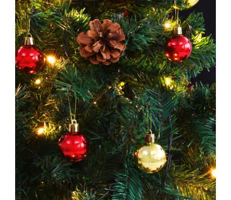 vidaXL Plastgran med julkulor och LED 180 cm grön[6/8]