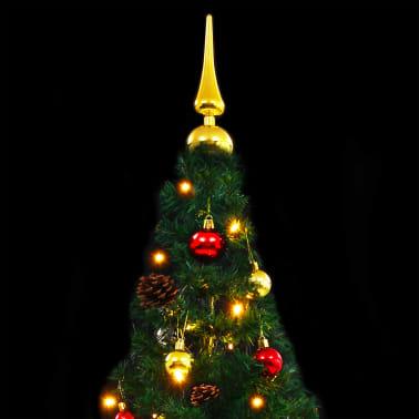 vidaXL Plastgran med julkulor och LED 180 cm grön[7/8]