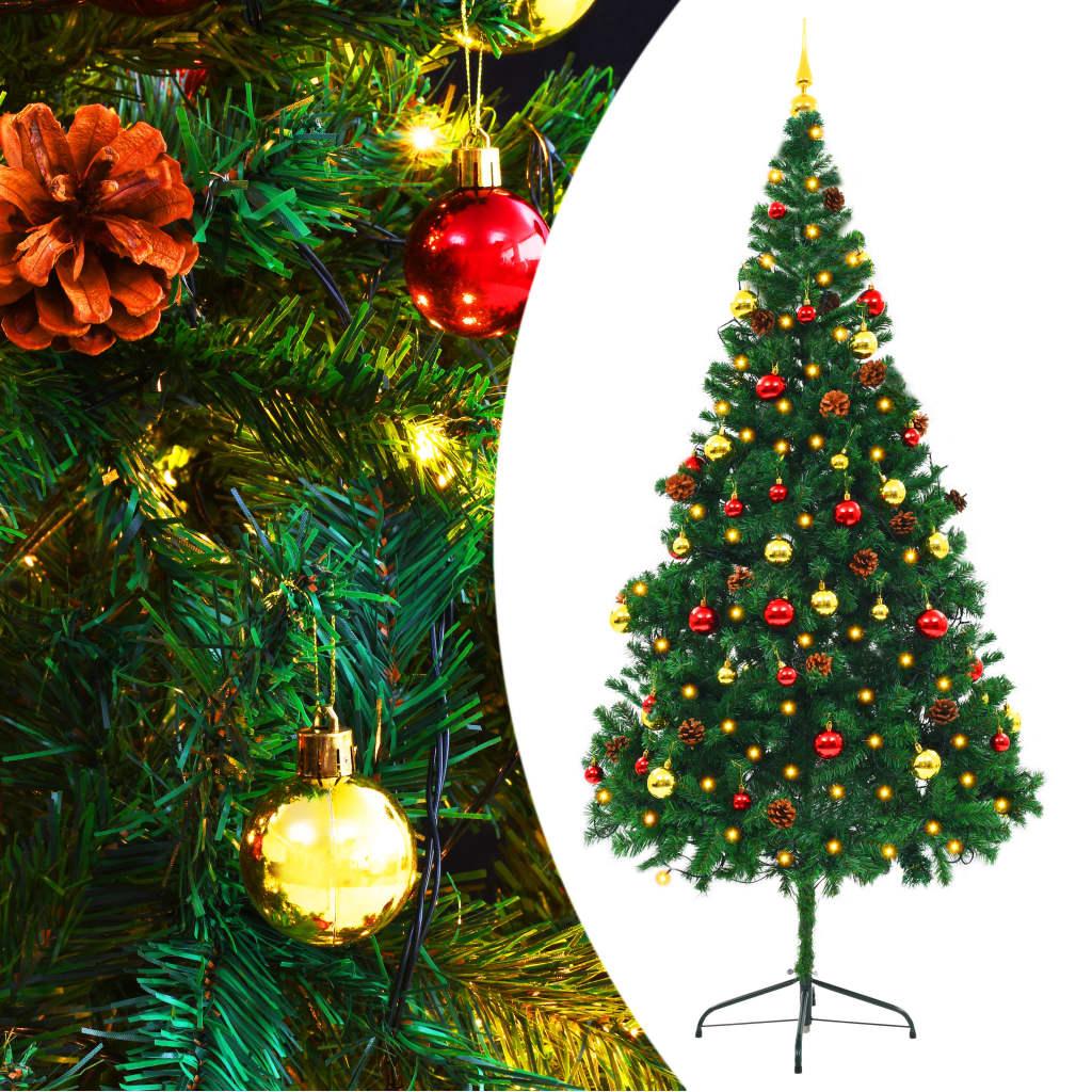 vidaXL Pom de Crăciun artificial decorat globuri și LED 210cm verde vidaxl.ro