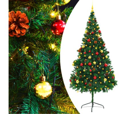 vidaXL Faux Christmas Tree Decorated with Baubles and LEDs 210cm Green