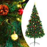 vidaXL Árvore Natal artificial decorada c/ enfeites e LEDs 210cm verde