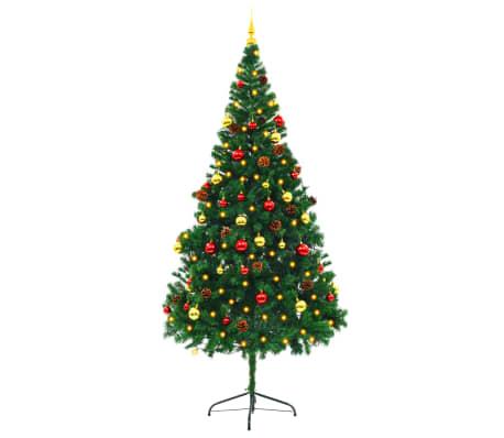 vidaXL ehete ja LED-tuledega kaunistatud kunstkuusk, 210 cm, roheline[4/8]