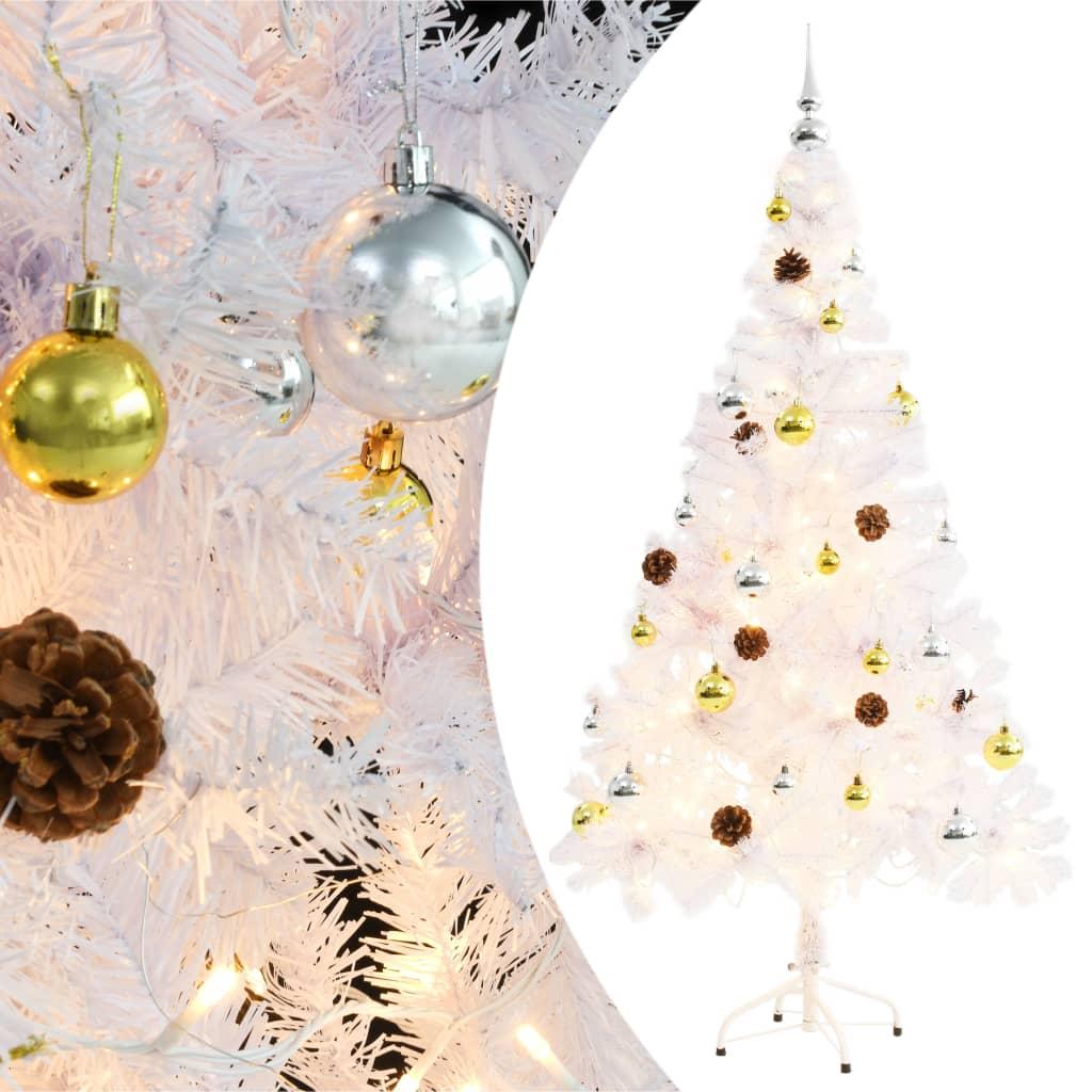 vidaXL Umělý vánoční stromek ozdobený s baňkami a LED 150 cm bílý