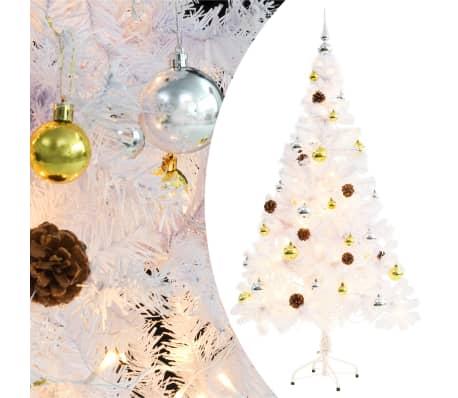 vidaXL Plastgran dekorerad med julkulor och LED 150 cm vit