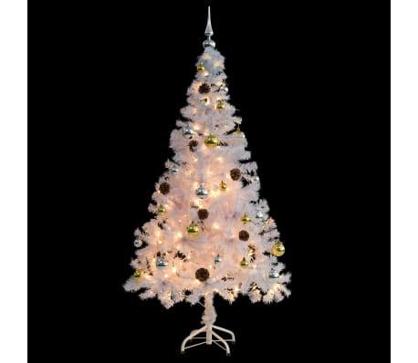vidaXL Kunstig juletre dekorert med julekuler og LED 150 cm hvit[3/8]