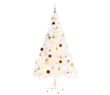 vidaXL Kunstig juletre dekorert med julekuler og LED 150 cm hvit[4/8]