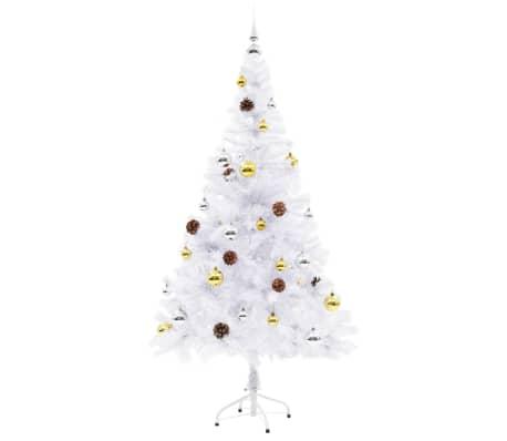 vidaXL Kunstig juletre dekorert med julekuler og LED 150 cm hvit[6/8]