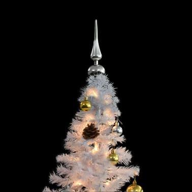 vidaXL Kunstig juletre dekorert med julekuler og LED 150 cm hvit[2/8]
