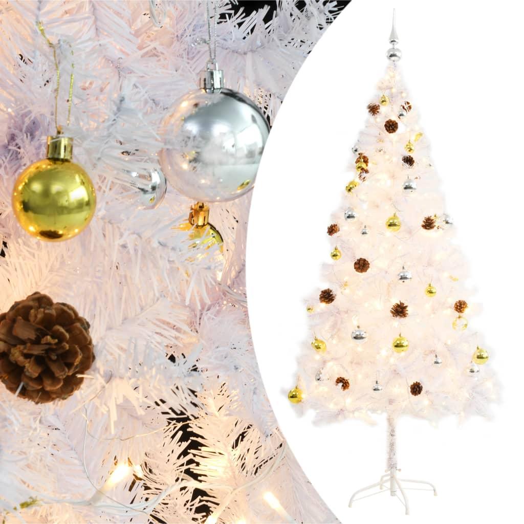 vidaXL Umělý vánoční stromek ozdobený s baňkami a LED 180 cm bílý
