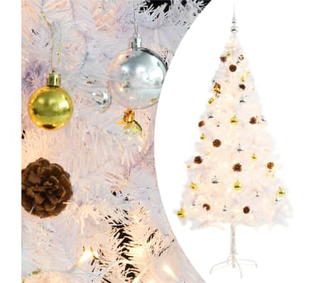 vidaXL Faux Christmas Tree Decorated with Baubles and LEDs 180cm White