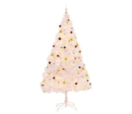 Künstlicher Geschmückter Weihnachtsbaum.Vidaxl Künstlicher Weihnachtsbaum Geschmückt Kugeln Leds 210 Cm Weiß