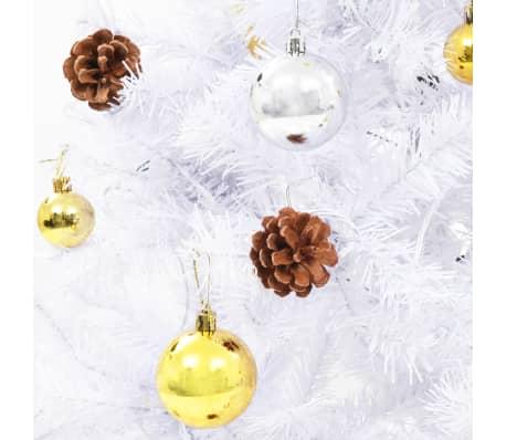 vidaxl k nstlicher weihnachtsbaum geschm ckt kugeln leds 210 cm wei g nstig kaufen. Black Bedroom Furniture Sets. Home Design Ideas
