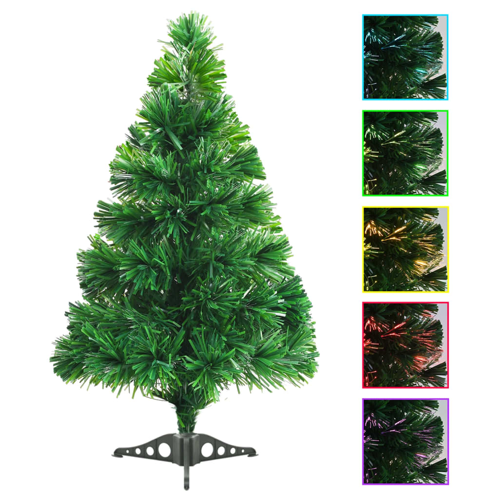 vidaXL Brad de Crăciun artificial cu fibră optică, 64 cm, verde poza vidaxl.ro