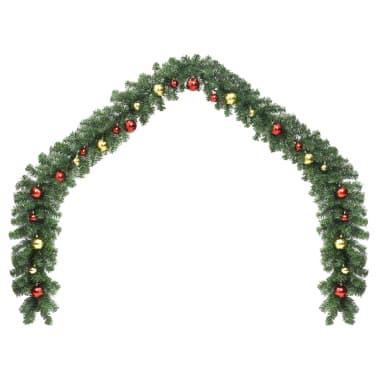 vidaXL Garland dekorert med julekuler og LED-lys 5 m[2/7]