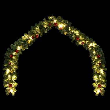 vidaXL Garland dekorert med julekuler og LED-lys 5 m[3/7]