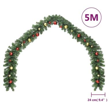 vidaXL Garland dekorert med julekuler og LED-lys 5 m[6/7]