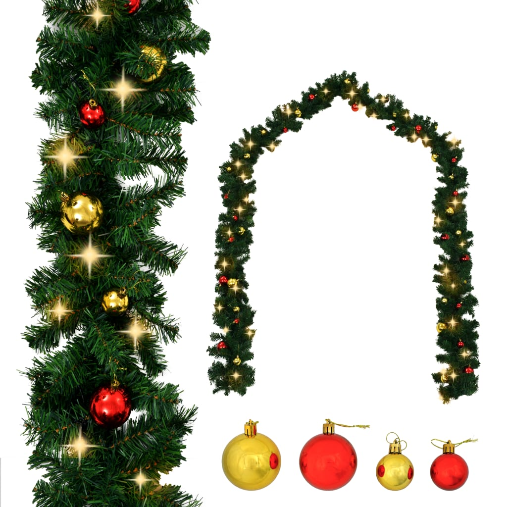 vidaXL Ghirlandă de Crăciun decorată cu globuri și becuri LED, 10 m vidaxl.ro