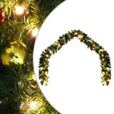 vidaXL Ziemassvētku vītne ar rotājumiem un LED lampiņām, 10 m