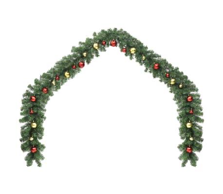 vidaXL Kerstslinger versierd met kerstballen en LED-lampjes 10 m[2/7]