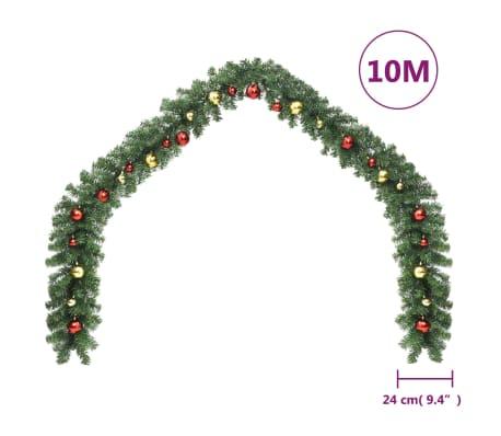 vidaXL Kerstslinger versierd met kerstballen en LED-lampjes 10 m[6/7]