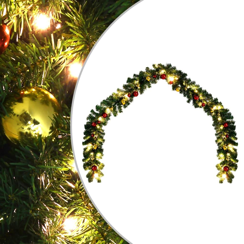 vidaXL Ghirlandă de Crăciun decorată cu globuri și becuri LED, 20 m vidaxl.ro