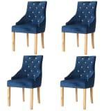 vidaXL Blagovaonske stolice 4 kom od masivne hrastovine i baršuna plave