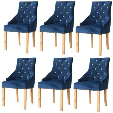vidaXL Krzesła do jadalni, 6 szt., drewno dębowe i niebieski aksamit[1/8]