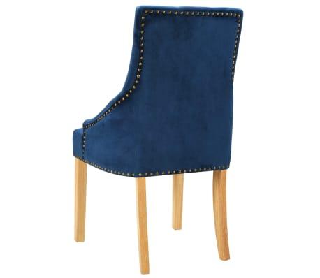 vidaXL Krzesła do jadalni, 6 szt., drewno dębowe i niebieski aksamit[5/8]