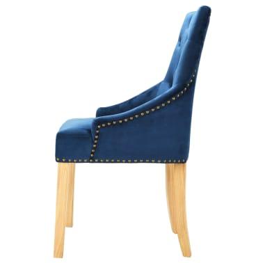 vidaXL Krzesła do jadalni, 6 szt., drewno dębowe i niebieski aksamit[3/8]