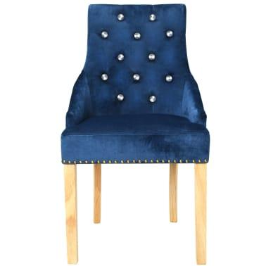 vidaXL Krzesła do jadalni, 6 szt., drewno dębowe i niebieski aksamit[4/8]