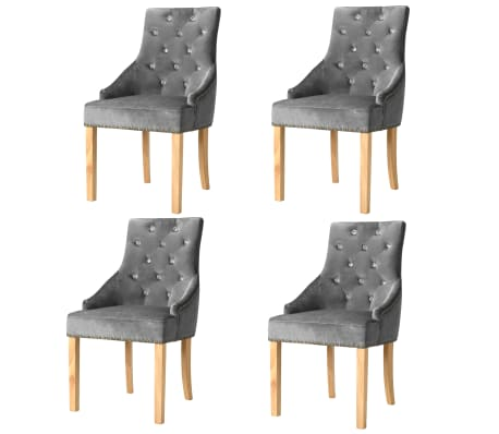 vidaXL Трапезни столове, 4 бр, сребристи, дъб масив и кадифе