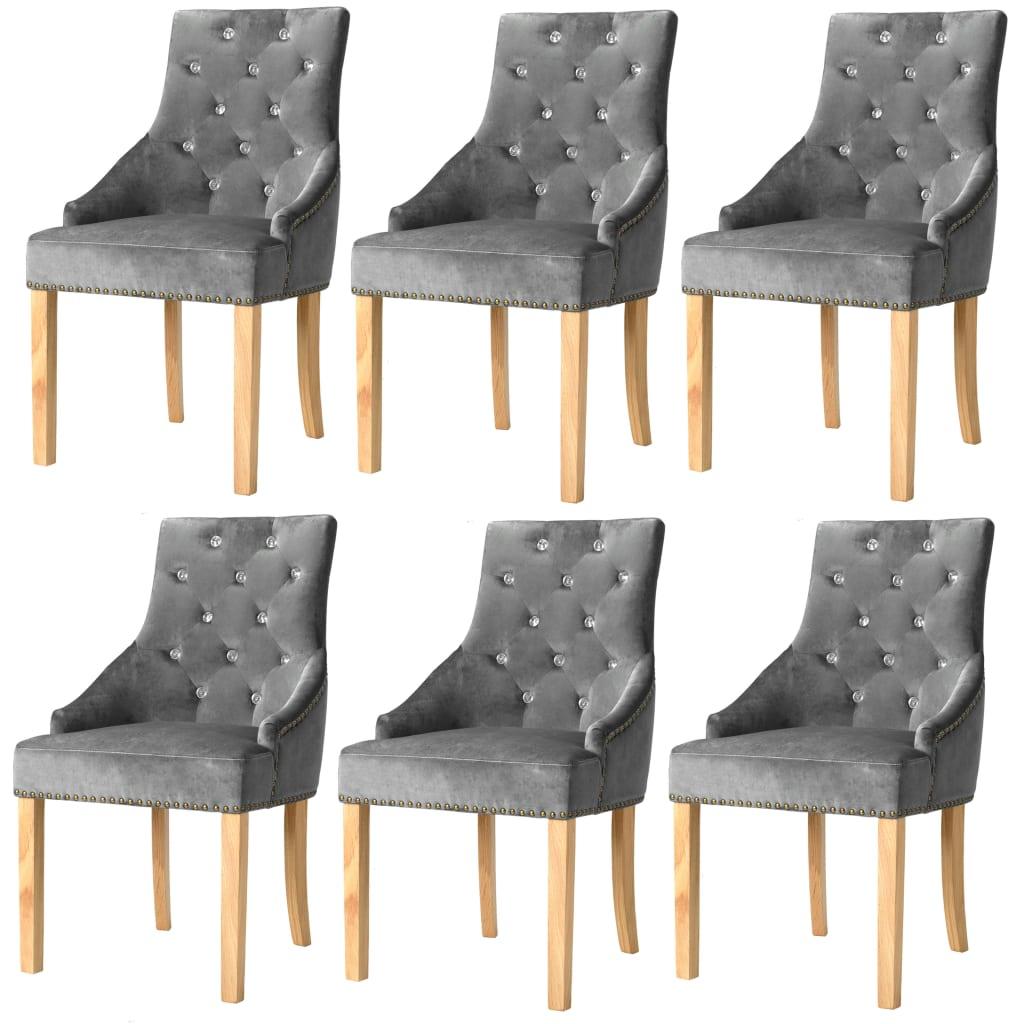 vidaXL Jídelní židle, 6 ks, masivní dubové dřevo a samet, stříbrné