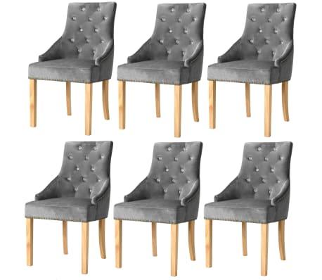 vidaXL Jídelní židle 6 ks stříbrné masivní dubové dřevo a samet