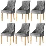 vidaXL Blagovaonske stolice 6 kom od masivne hrastovine i baršuna srebrne