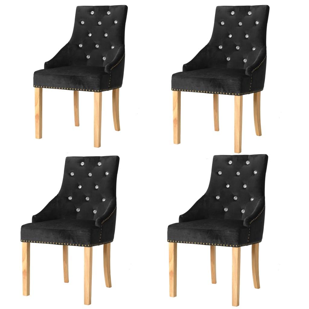vidaXL Καρέκλες Τραπεζαρίας 4 τεμ. Μαύρες Μασίφ Ξύλο Δρυός / Βελούδο