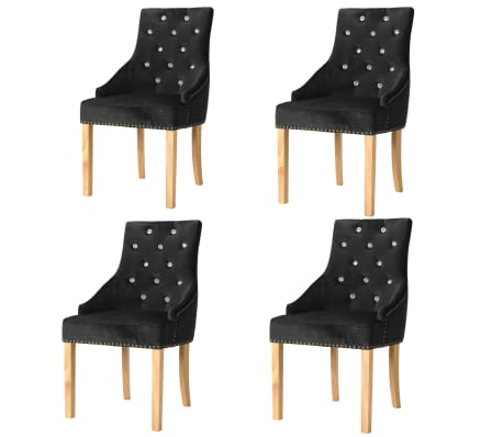 vidaXL Chaises de salle à manger 4 pcs Noir Chêne massif et velours