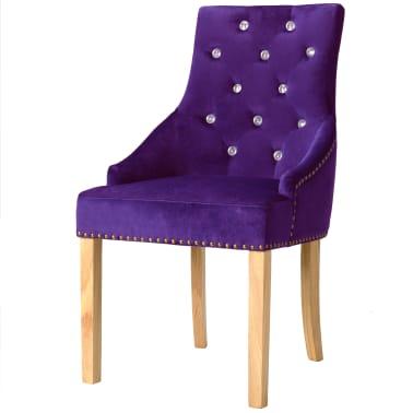 vidaXL Matstolar 4 st lila massiv ek och sammet[2/8]